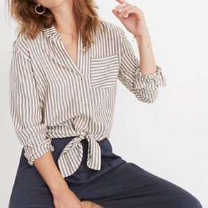 Madewell Tie-Front Shirt in Maitland Stripe